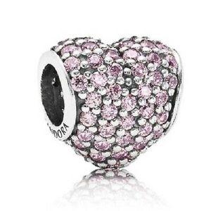 Pandora Light Pink Pave Heart Charm